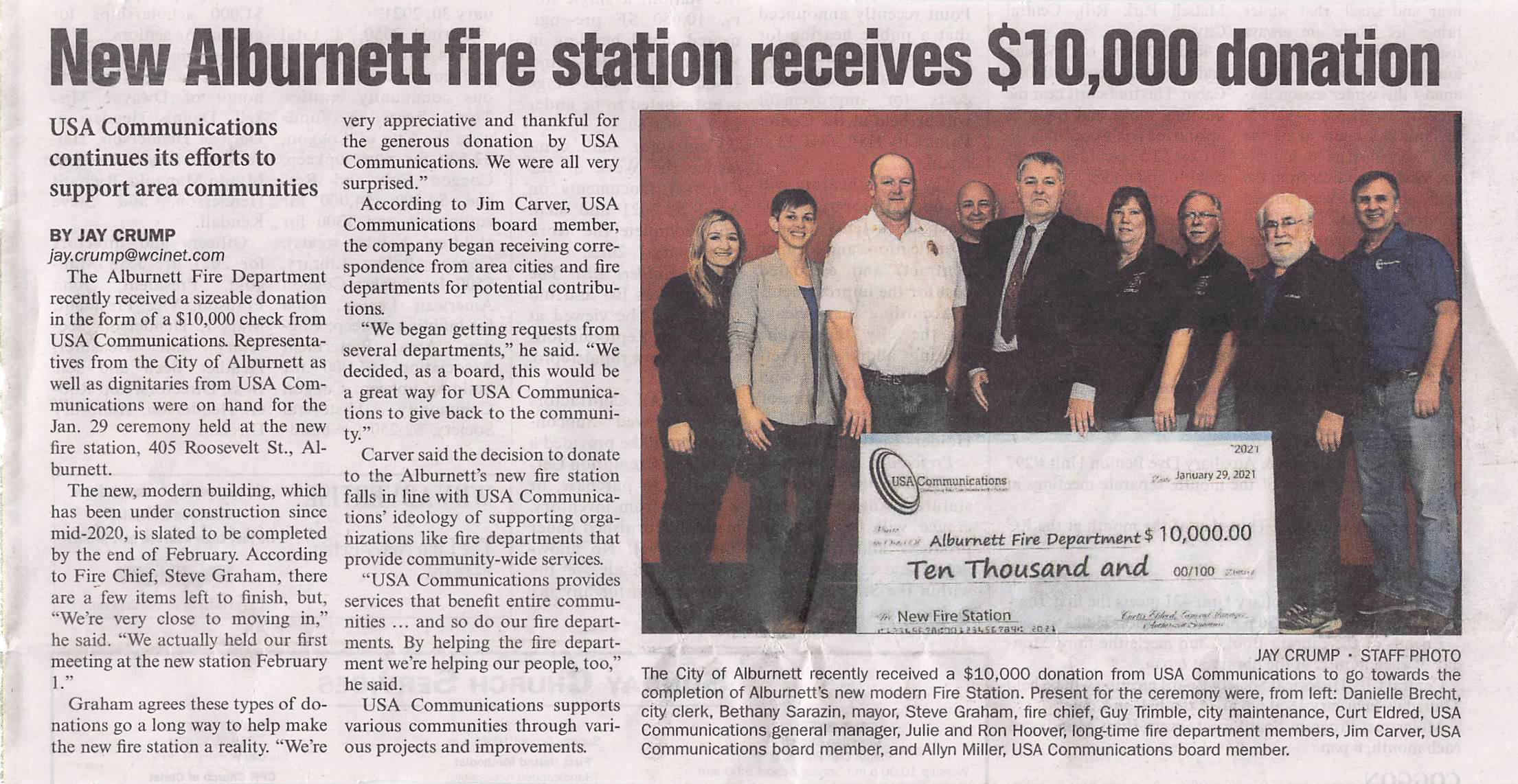 Fire Station Donations Alburnett